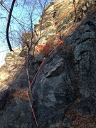 Rock Climbing Photo: See the red sling. Upper left a bouts.
