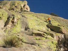 Rock Climbing Photo: Just before the bolts stop and the run out begins ...