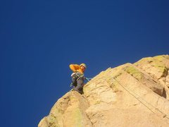 Rock Climbing Photo: From the belay it is hard to see that there is a g...