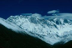 Rock Climbing Photo: Mt. Everest (very top center of photo) from near t...