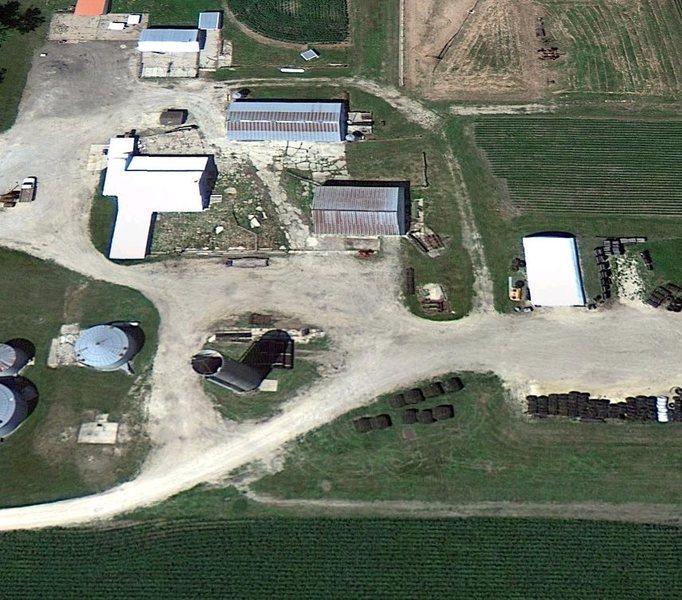 birdseye screenshot of silo area in summer