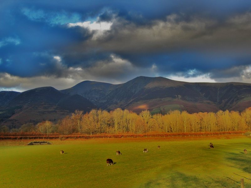 Skiddaw Mt above town of Keswick ..Lake District NW England