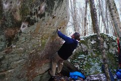 Rock Climbing Photo: Brad one move in on the FA (low hand in the start)