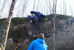 "Rock Climbing Photo: Aaron Parlier finishing the FA of ""Shooter Mc..."