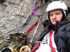Rock Climbing Photo: setting up second anchor station for final ascent....