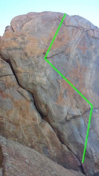 Strider is the 5.6 crack on the left, Strider Face is the 5.10b route drawn in green.
