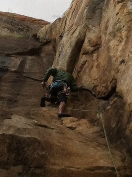 Matt on the lead .. <br> <br> Felt more like 5.6 and was only about 60' tall