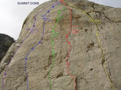 Rock Climbing Photo: The Summit Dome - 5 new 100' pitches all share the...
