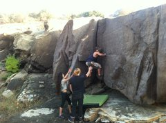 Rock Climbing Photo: Charlie starting up the gritty fist crack