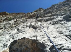 Rock Climbing Photo: Ethan Pullan leading pitch 2 of unknown multi.