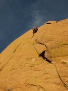 Rock Climbing Photo: Finishing the finger crack.