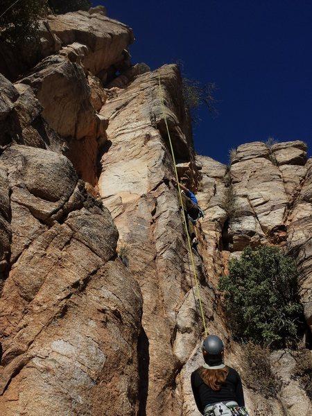 Rock Climbing Photo: Andrew high-steps through the tough stuff.  Direct...