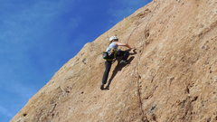 "Rock Climbing Photo: Climbing the delicate upper slab of ""Don't Me..."