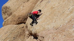 Rock Climbing Photo: Getting established on the slab, above the crux of...
