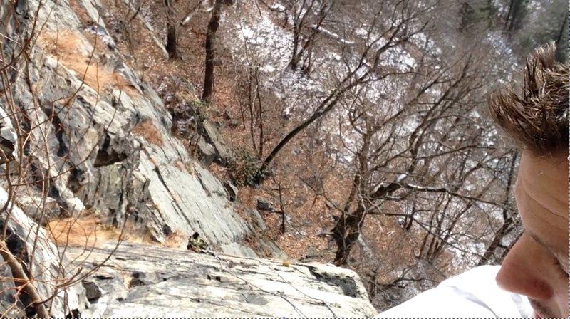 Rock Climbing Photo: Solo Climb Ruck clipped to face of mountain as Rop...