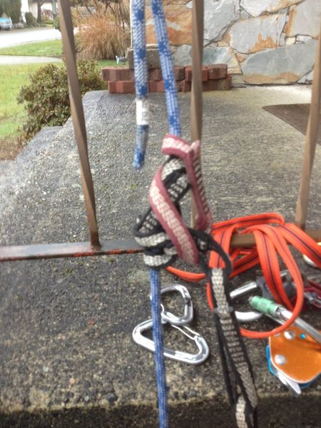"""mammut 8mm phoenix half rope with PAS """"friction"""" knot"""