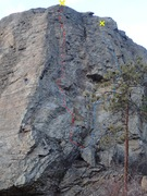 Rock Climbing Photo: The East face of OTID Rock from the SE approach tr...