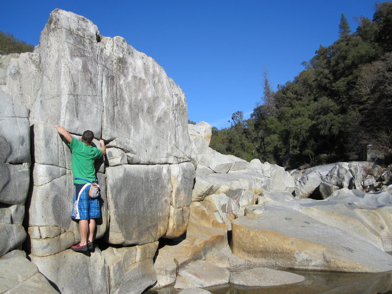 This guy fell in the water trying this traverse.