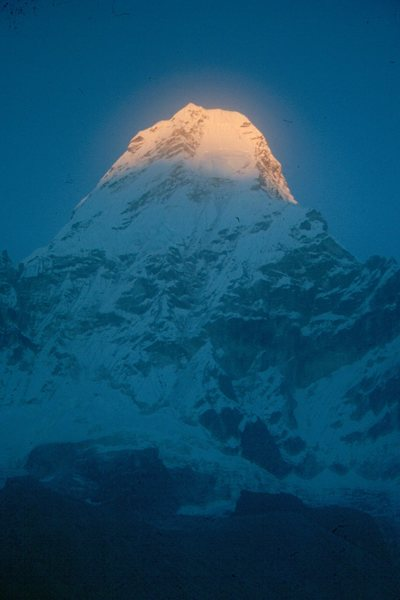 Rock Climbing Photo: Sunset on Ama Dablam, Himalayas.