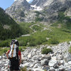 Starting the hump up Skillet Glacier route, NE face of Mt. Moran, Grand Tetons, Wyoming.