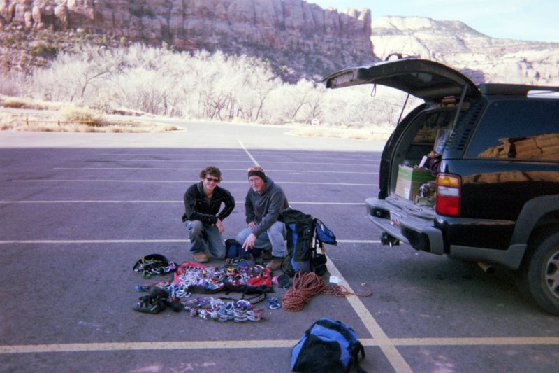 Rock Climbing Photo: Jonah and George wilkey coming up with a plan of a...