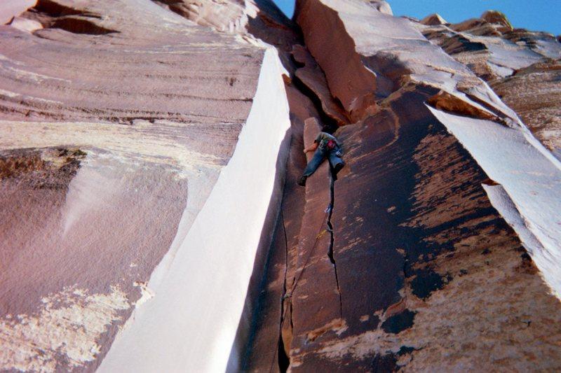 Rock Climbing Photo: Jonah wilkey leading twin cracks