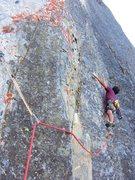 Rock Climbing Photo: Lucho doing the traverse on Pitch 5. Dan McDevitt ...
