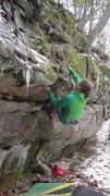 Rock Climbing Photo: Brad Mathisen moving past the overhang.