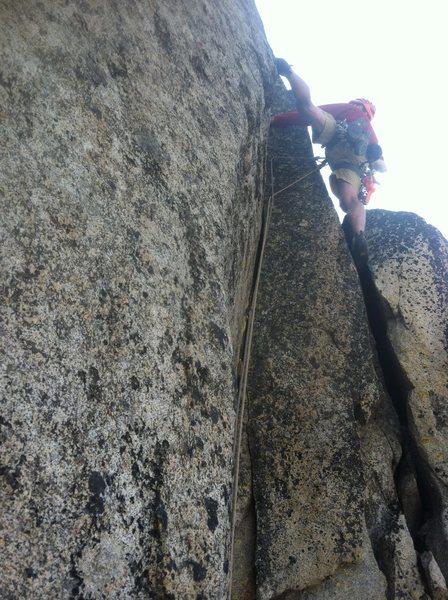 Rock Climbing Photo: Me leading the crux pitch. 5.10c