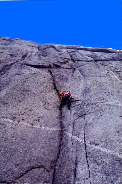 "FA ""Unfinished Business"" 5.11cR Wind River range, Wyoming. Beta photo in this album"