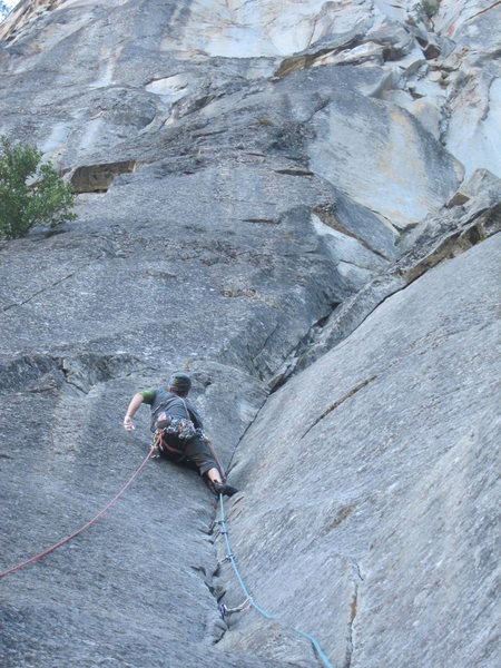 Ben at the final crux of pitch one.
