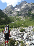 Rock Climbing Photo: Starting up the horrible, bushwhacking, grizzly be...