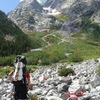 Skillet Glacier Route, Mt. Moran, Tetons, Wyoming.<br> Not sure of the bushwhacking approach....wanders...zero trail & often cannot see through the foliage.  WARNING: GRIZZLY COUNTRY: CHECK WITH CLIMBING RANGERS RE: RECENT ACTIVITY.