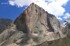 Rock Climbing Photo: Beta shot of Peak Asan 4230m and the associated ro...