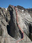 Rock Climbing Photo: Beta Picture of Perestroika Crack on Peak Slesova ...