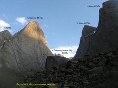 Rock Climbing Photo: Photo of the Karavshin area including Peak Asan, U...