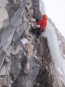 Rock Climbing Photo: Stanley working up into the ice, showing us how hi...