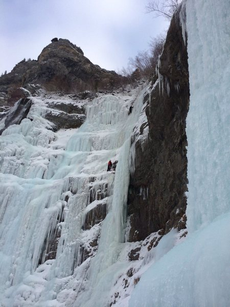 Bridal veil left on Saturday the 14th.  Good ice, not a lot of water.  Alright screw placement but helped to hack for it.  Picture from the base of white nightmare that was getting double teamed that day and run laps on...  Looked pretty haggered!