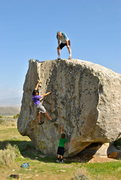 Rock Climbing Photo: Three generations, on the rocks!  Backyard Boulder...