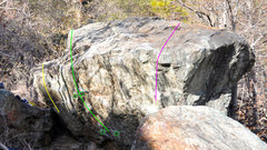 Rock Climbing Photo: 2 Olives shown in green. The sit down start and st...