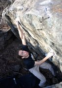 Rock Climbing Photo: John making the long, fun crux move on Dry Vermout...