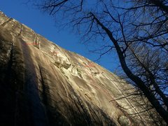 Rock Climbing Photo: Route is in red, var in orange.
