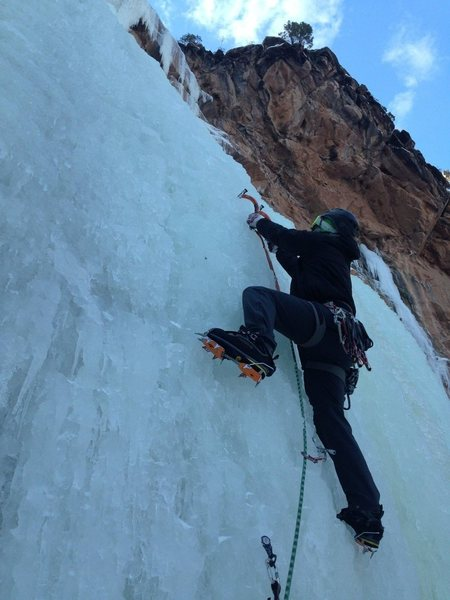 Rock Climbing Photo: Starting up the falls on 12/19/13.