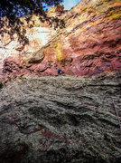 Rock Climbing Photo: Eddie halfway up the P1 traverse. The crux of the ...