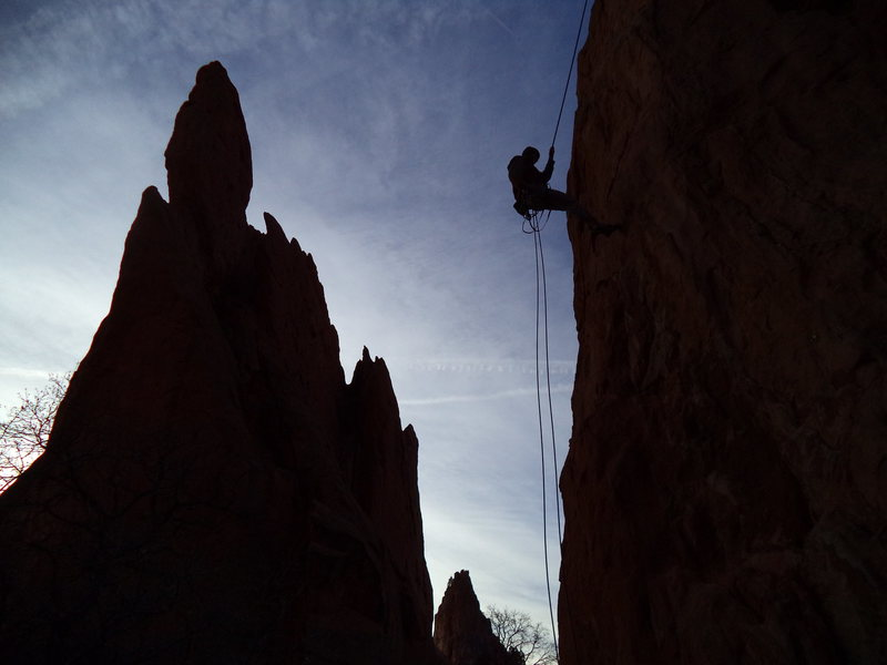 Rappelling at sunrise.