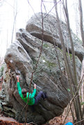 Rock Climbing Photo: Brad Mathisen with his right hand on the start hol...