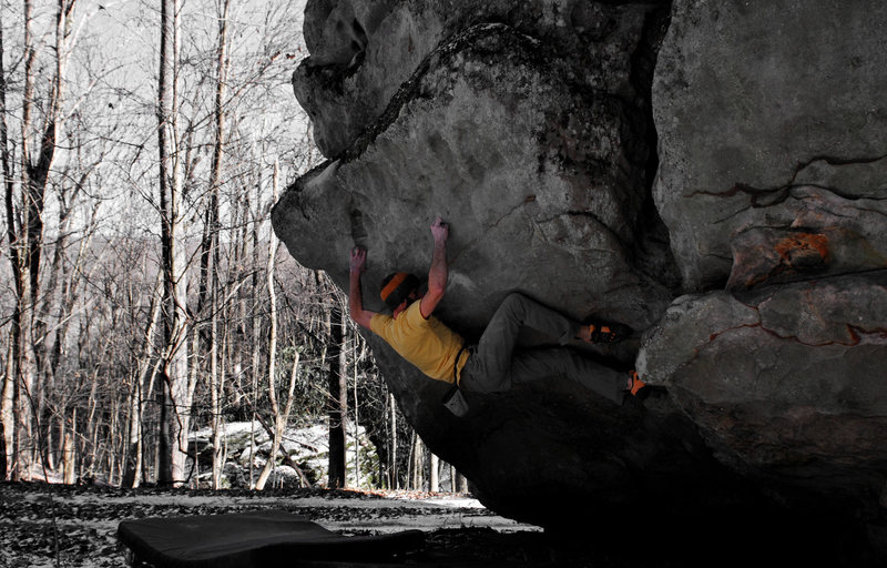 Aaron Parlier on the FA of King Coal (V9), Roadside Boulder