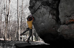 Rock Climbing Photo: Aaron Parlier swinging through for the finish on &...