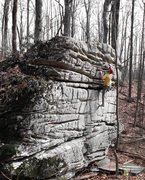 """Rock Climbing Photo: Aaron Parlier on the FA of """"The Grinch"""""""