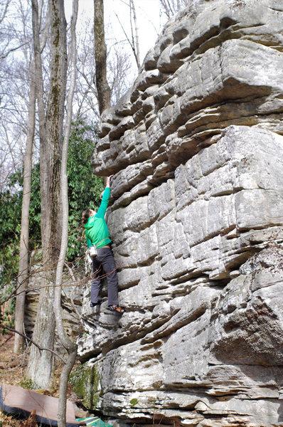 "Rock Climbing Photo: Brad Mathisen on the FA of ""The Lorax""(V..."